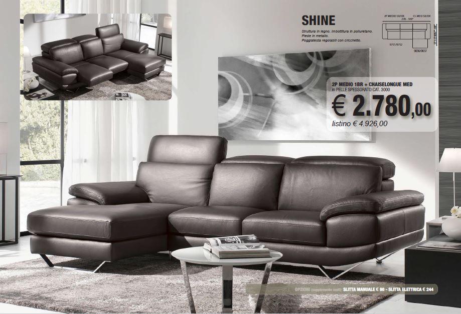 offerta 2015 divano pelle shine DeltaSalotti Carbonia Iglesias
